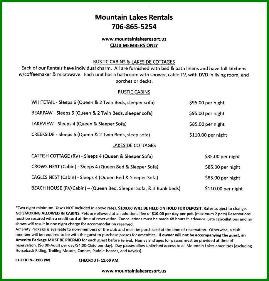 Mountain Lakes Cabin Rental